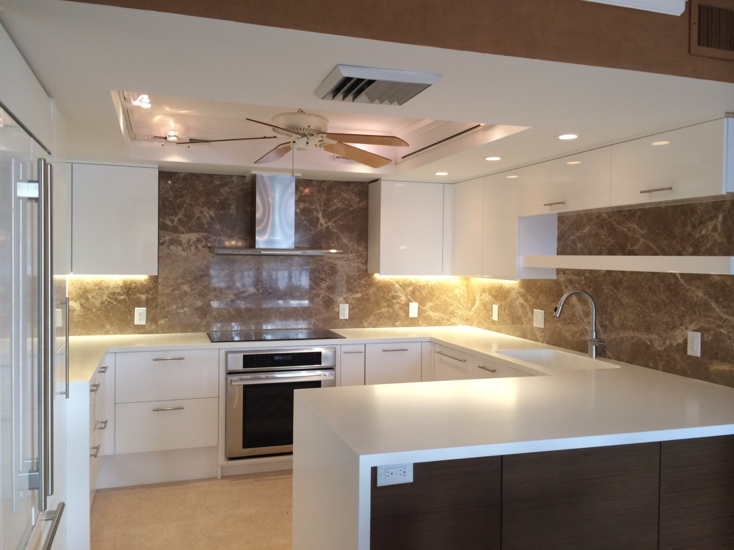 Contemporary European Kitchen Marble Back Splash White High Gloss Wenge Wood Waterview Kitchens