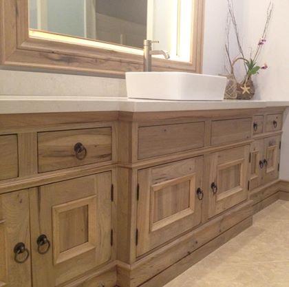Rustic Hickory Driftwood Stain Knots Cracks Distressing Bathroom Vanity  Vessel Sink