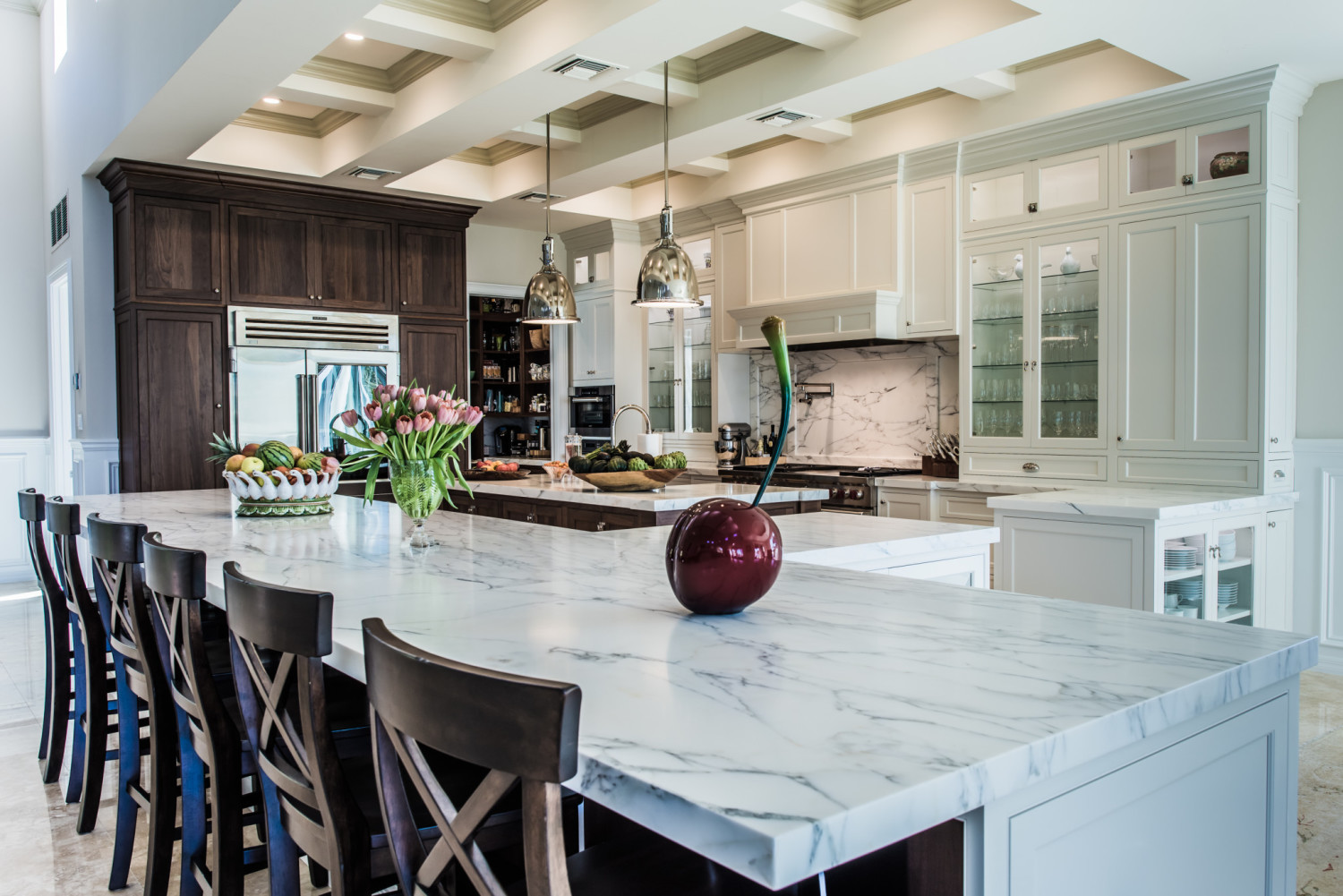Frosty White Inset Cabinetry Walnut Refrigerator Wall Carrera Marble Countertops