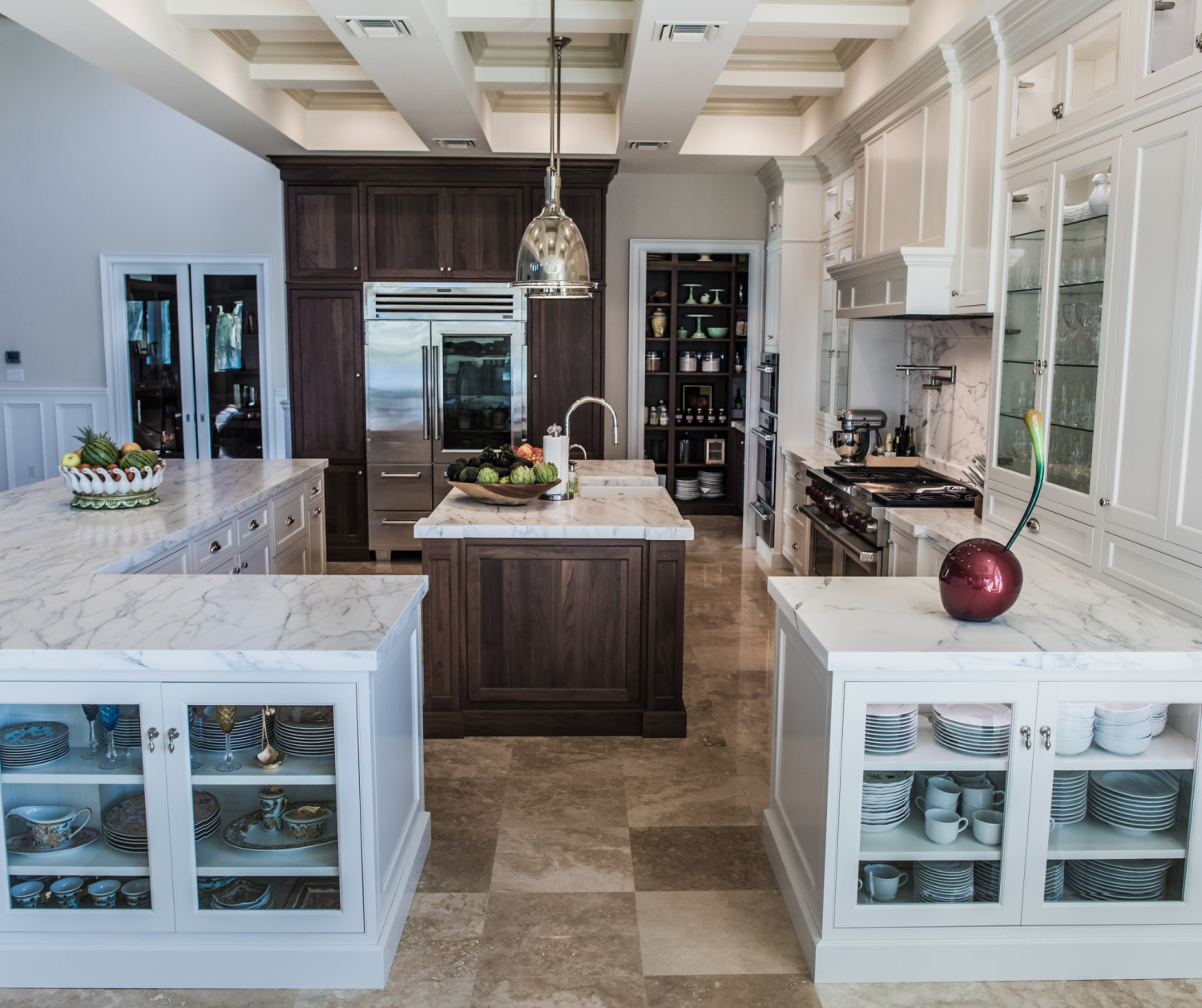 Flanking Glass Cabinets Into Walnut And White Inset