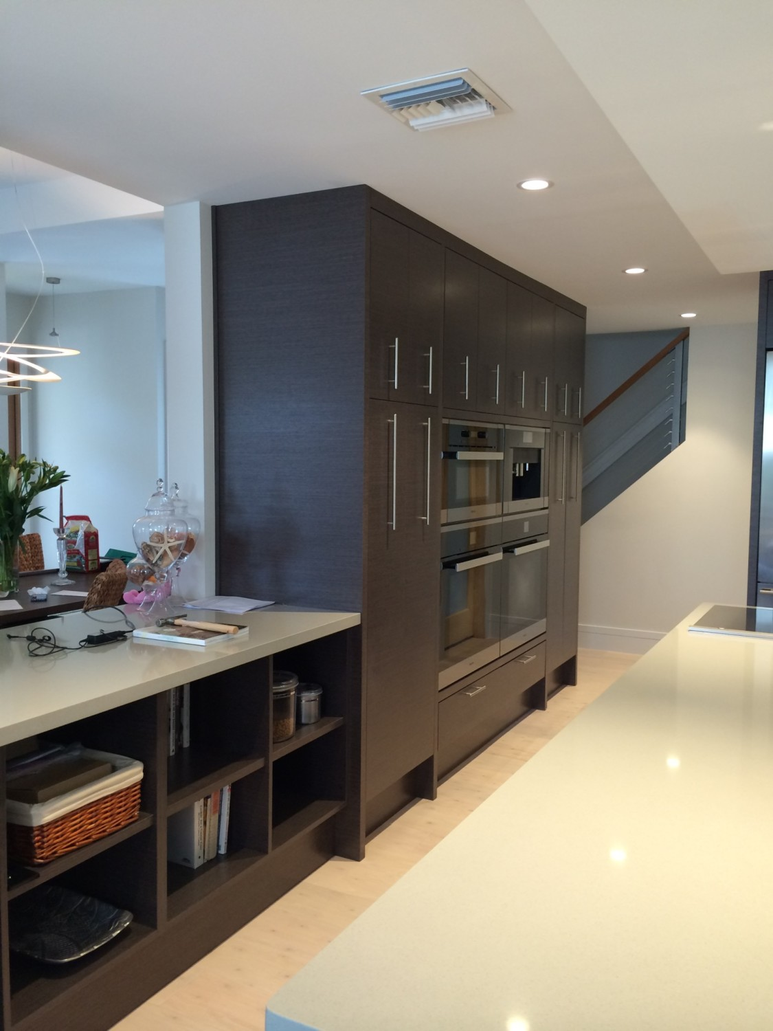 Miele built in wall cabinets grey oak contemporary kitchen for Grey kitchen wall units
