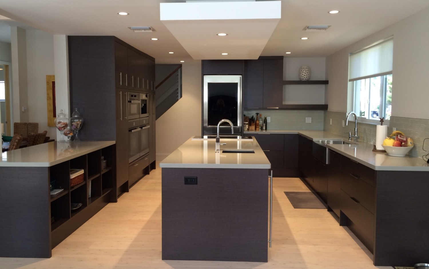 Contemporary Kitchen Gray Oak Cabinets with Miele Wall Coffee Center