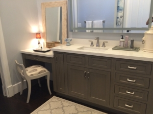 Beaded Inset Bathroom vanity cabinet. Gray painted cabinets