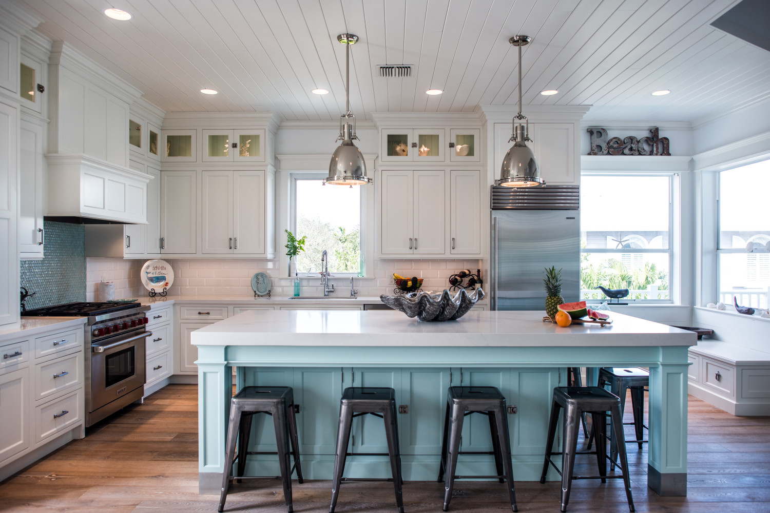 Intracoastal beach home with large kitchen island with Kitchen design home visit