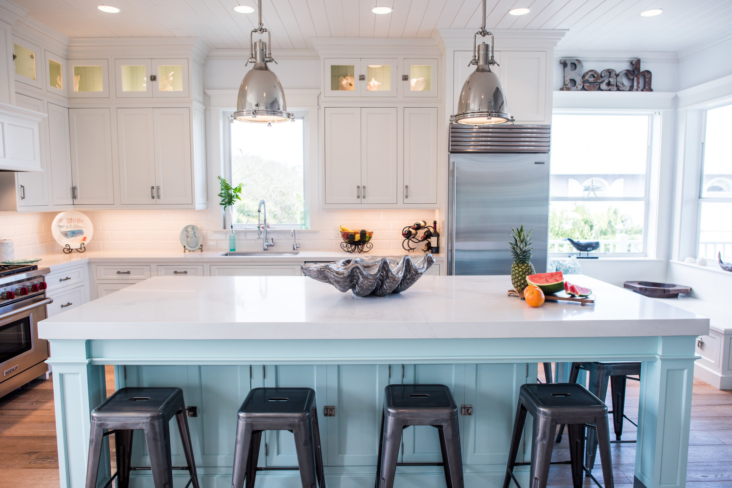 turquoise kitchen island white coastal kitchen with turquoise island waterview 15229