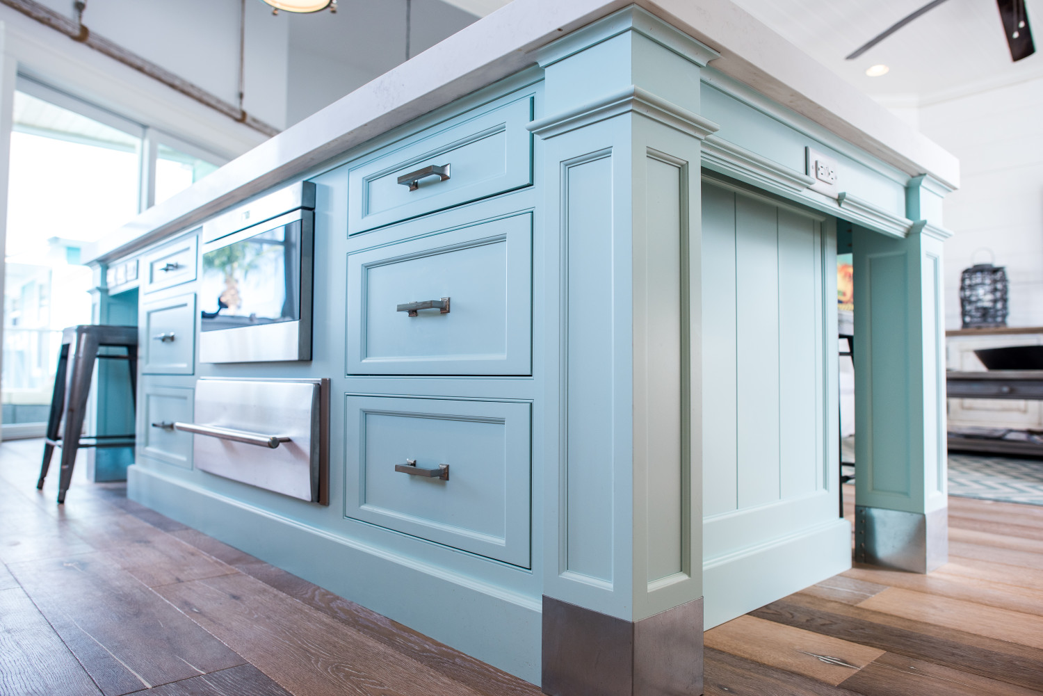 Custom color turquoise Island - Waterview Kitchens