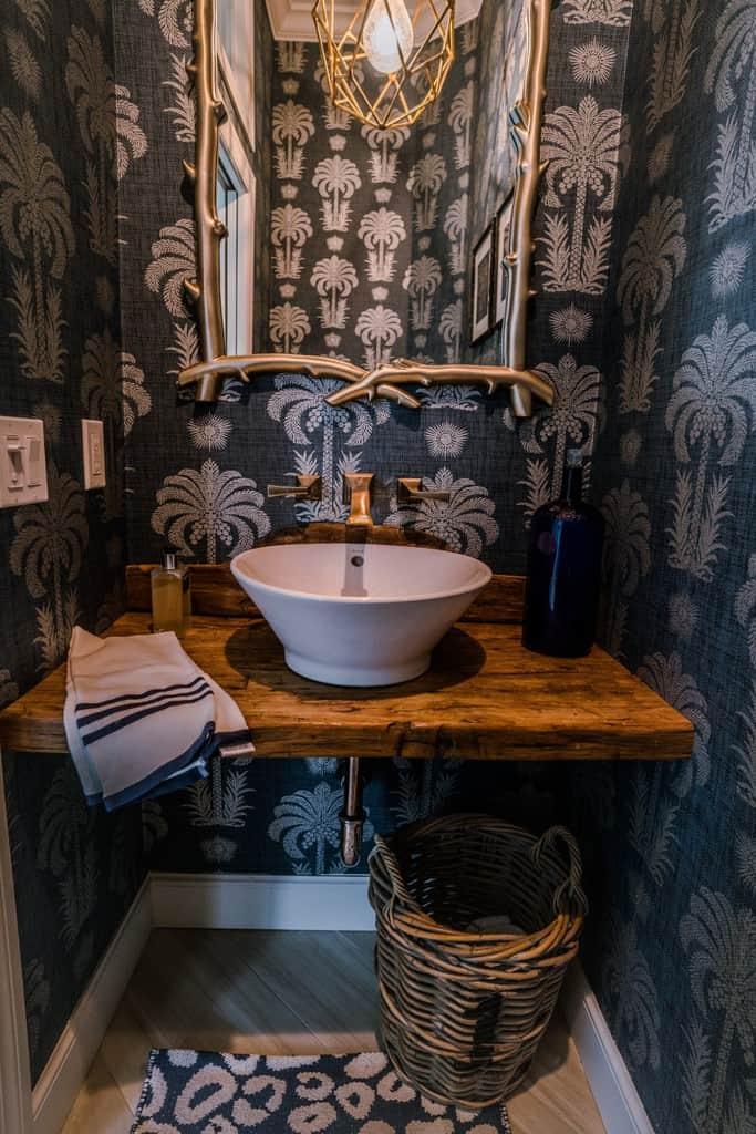 wood countertop for bathroom vanity Reclaimed Wood Countertop Powder Bath Vanity Waterview