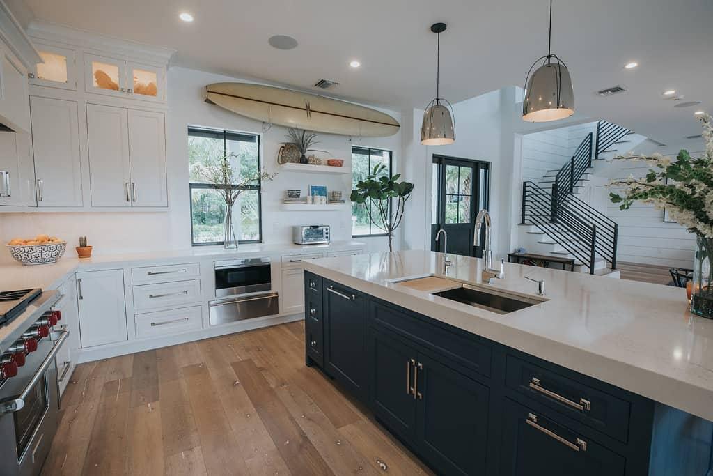 blue and white coastal kitchen  waterview kitchens